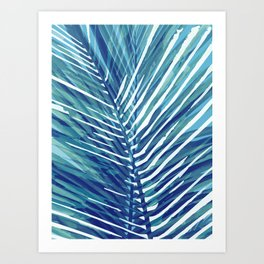 Abstract Palm Leaves | Blue Art Print