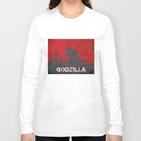 godzilla Long Sleeve T-shirts featuring Godzilla by WatercolorGirlArt
