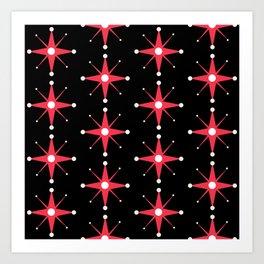 Retro Red Stars on Black Art Print