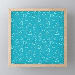 Baby Blue Triangle Pattern Framed Mini Art Print