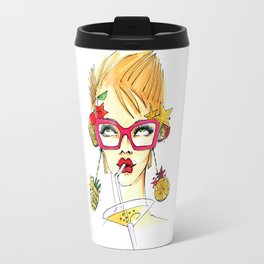 The girl is drinking a martini, with glasses and looking up. Travel Mug