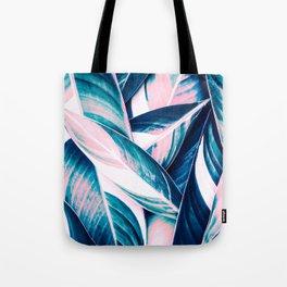 Botanical leaf pink and blue Tote Bag