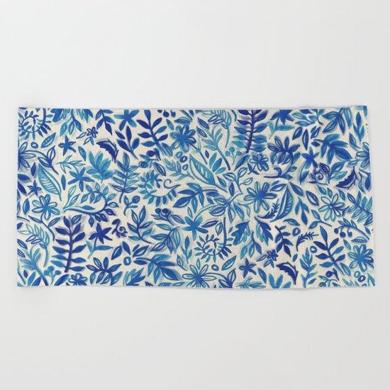 Floating Garden - a watercolor pattern in blue Beach Towel