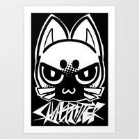 metal cat icon Art Print