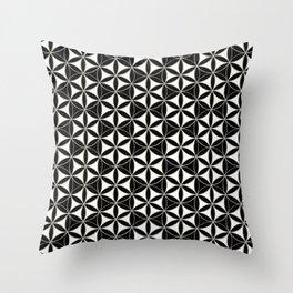 Flower of Life Pattern black-white Throw Pillow