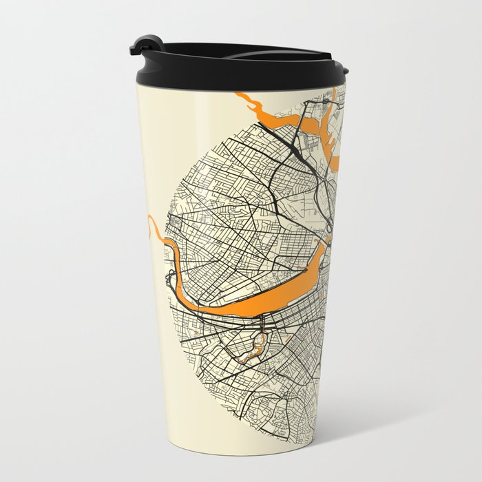Boston Map Moon Metal Travel Mug