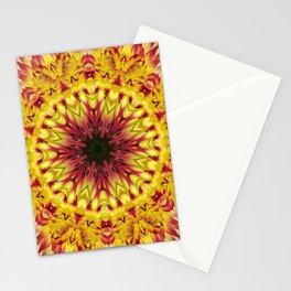 Dahlia 'Jessica' fiery kaleidoscope/mandala Stationery Cards