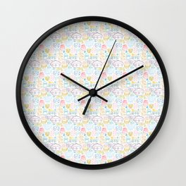 Vintage Dishes in Rainbow Wall Clock