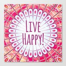 Live Happy Mandala Canvas Print