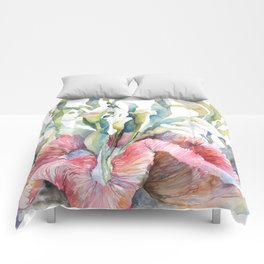 White Calla Lily and Corals Seaweed Watercolor Surreal Botanical Underwater Comforters