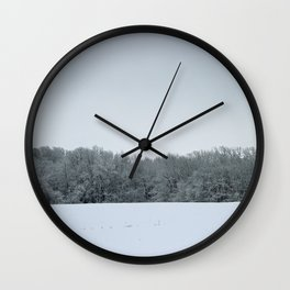Winter Rural Landscape with Snowy Trees and Snow Wall Clock