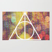 deathly hallows Area & Throw Rugs featuring Deathly Hallows by Michal