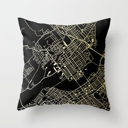 Wilkes-Barre Gold and Black Map Throw Pillow