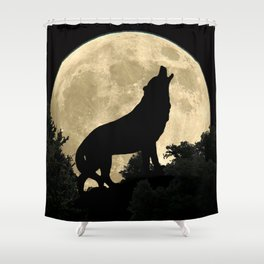 Wolf Howling at the Full Moon A303 Shower Curtain