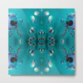 SeaShell Pearls Blue Metal Print