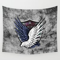 shingeki no kyojin Wall Tapestries featuring Wings of Freedom by jpmdesign