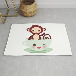 Cute Kawai pink cup with brown monkey Rug