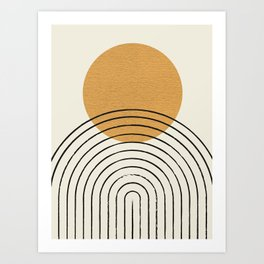 Gold Sun rainbow mid-century full Art Print
