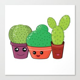 Hilarious family of cacti Canvas Print