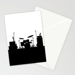 Rock Band Equipment Silhouette Stationery Cards