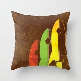 Retro Rocket Ships Throw Pillow