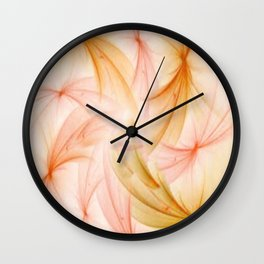 Orange and Peach Fluff Abstract Wall Clock