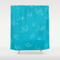 scuba Shower Curtains featuring Paper Cranes (Scuba Blue) by Sherry Yuan