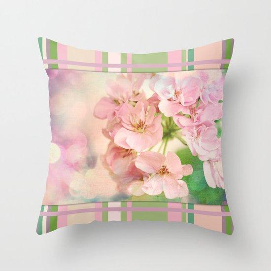 Candy Pink, Lime Green, Vanilla Cream Throw Pillow
