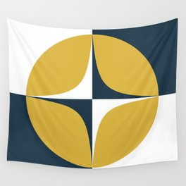 Atomic Age Neutra Midcentury Modern Quattro Pattern in Mustard, Navy Blue, and White Wall Tapestry