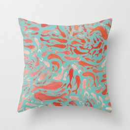 Koi - Coral & Turquoise Throw Pillow