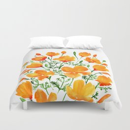 Watercolor California poppies Duvet Cover