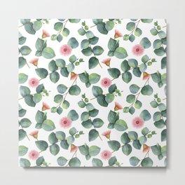 Eucaliptus and pink flowers pattern Metal Print