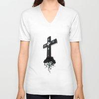 religion V-neck T-shirts featuring Game religion by Dmitriy Turovskiy (pushok12)