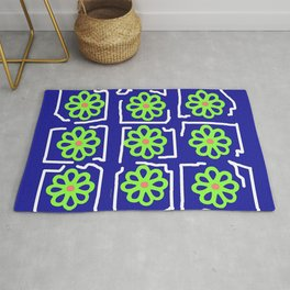 Abstract Green Blossoms on Blue Rug