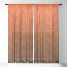 Gradient Orange Zig-Zags Sheer Curtain