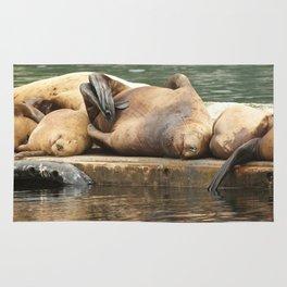 Sleeping Sea Lions Photography Print Rug