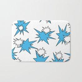 Stars (Blue & White on White) Bath Mat