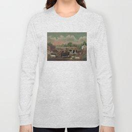 Vintage Livestock Farm Painting (1887) Long Sleeve T-shirt