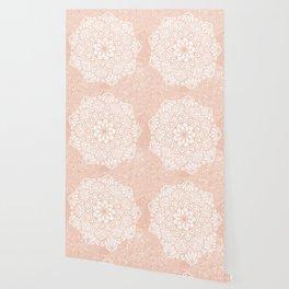 Seashell Mandala Coral Pink and White by Nature Magick Wallpaper