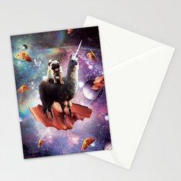 Space Pug Riding Llama Unicorn - Bacon & Taco Stationery Cards