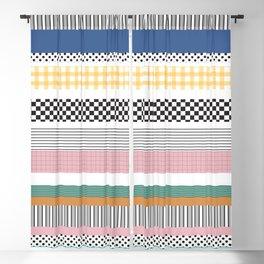 Mixed Pattern Stripe Print Color Blocking Blackout Curtain
