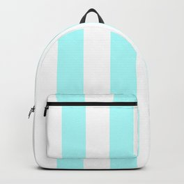 Vertical Stripes - White and Celeste Cyan Backpack