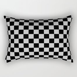 Black and Gray Checkerboard Rectangular Pillow