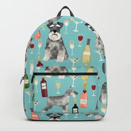 Schnauzer wine champagne cocktails rose dog breed pattern Backpack