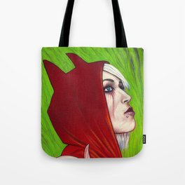 Portrait - Devilish Red Hoodie Tote Bag
