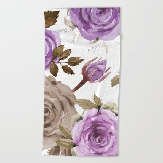 FLOWERS WATERCOLOR 9 Beach Towel