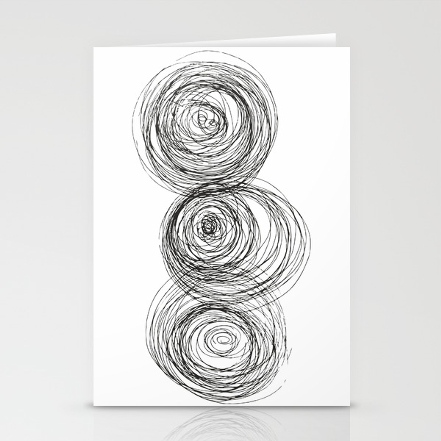 Modern abstract art black and white drawing stationery cards by siretmr