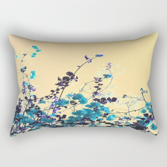 Vibrant Turquoise Blooms Rectangular Pillow