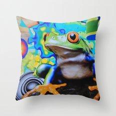 Peace Frog Throw Pillow