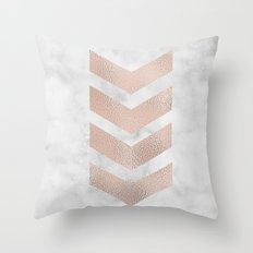 Rose gold chevrons on marble Throw Pillow